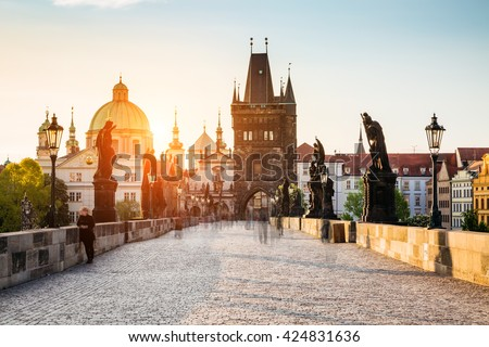 Fantastic view of the Saint Francis of Assisi Church. Location famous place Charles Bridge (Karluv Most) and lesser town bridge tower on river Vltava. Prague, Czech Republic, Europe. Beauty world.