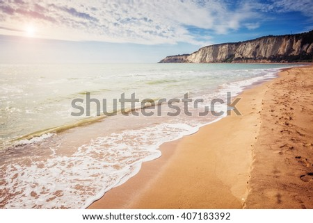 Fantastic view of the yellow sand on a sunny day. Picturesque scene. Location place Island Sicily (Sicilia), Natural Reserve Foce del Fiume Platani, Italy, Europe. Mediterranean sea. Beauty world. - stock photo