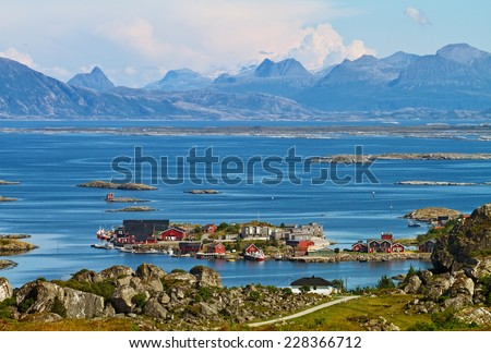 Fantastic view on Lovund island and  the Helgeland coast in Nordland county, Norway. - stock photo