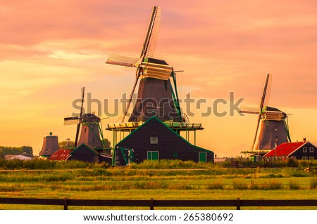 Fantastic view on windmills in Zaanse Schans near Amsterdam