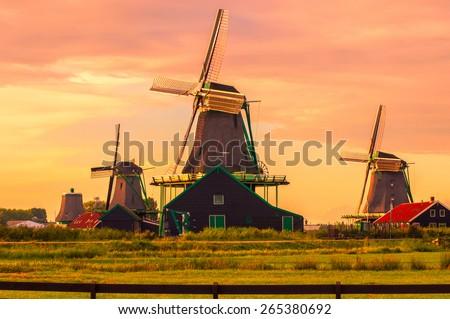 Fantastic view on windmills in Zaanse Schans near Amsterdam - stock photo