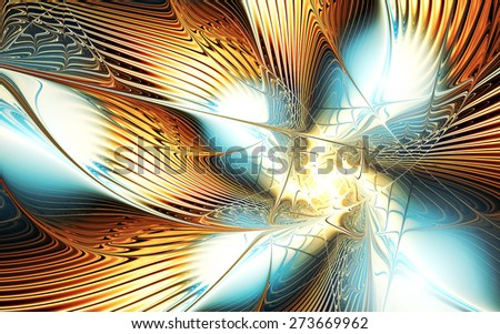 Fantasy abstract night flower with brilliant effect. Sparkle golden fine background for creative design. Artistic shiny decoration for wallpaper desktop, poster, cover booklet, flyer. Fractal artwork - stock photo