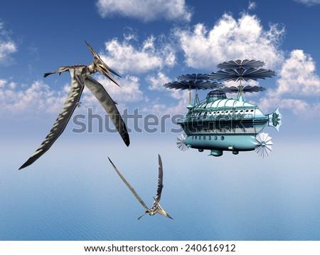 Fantasy Airship and the Pterosaur Pteranodon Computer generated 3D illustration - stock photo