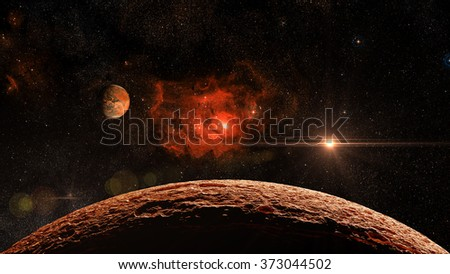 Fantasy Alien Exo Planet isolated galaxy space Elements of this image furnished by NASA - stock photo