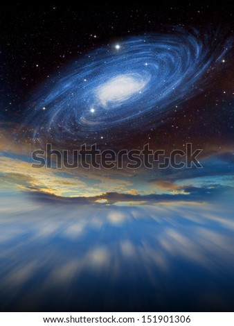 Fantasy alien space scene with alien planets and moons. - stock photo