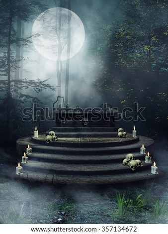 Fantasy altar with candles, skulls and thorn vines in a dark forest at night - stock photo