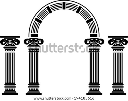 fantasy arch and columns. stencil. fifth variant - stock photo