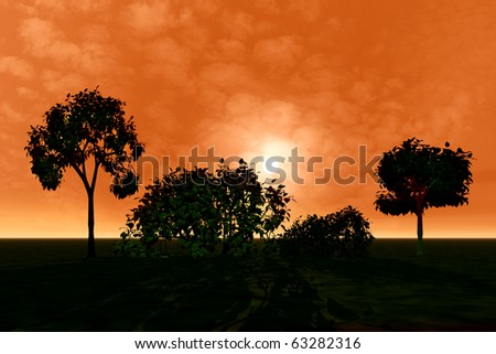 Fantasy beautiful landscape with trees. Sunset