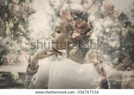 fantasy beautiful young woman like fairy, double exposure with roses, small amount of grain added - stock photo