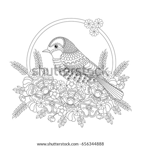 Fantasy Bird In Flowers Coloring Book For Adults And Children Black White Illustration