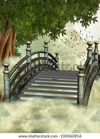 fantasy bridge in the sky with tree - stock photo