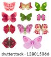 Fantasy butterfly collection with rose wings, made of various, studio photographed, rose parts, forming unique wings, isolated on white - stock photo