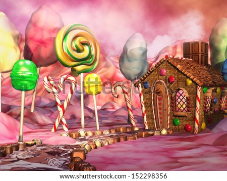 Fantasy candy land with chocolate and gingerbread house - stock photo