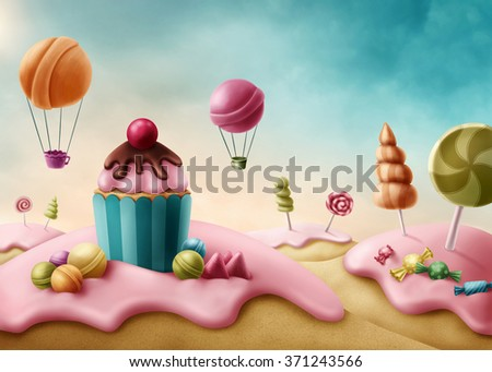 Fantasy candyland with cupcake and bonbons - stock photo