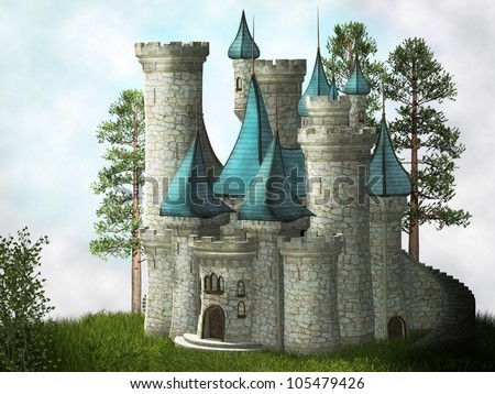 Fantasy castle - stock photo