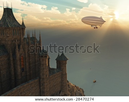 fantasy castle and flying zeppelin at sunset - stock photo