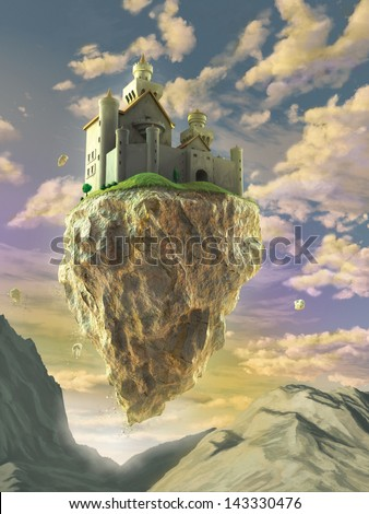 Fantasy castle floating on a big rock over a gorgeous sunset landscape. Digital illustration. - stock photo