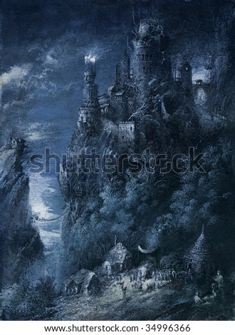 Fantasy castle. Made by tempera on paper. - stock photo