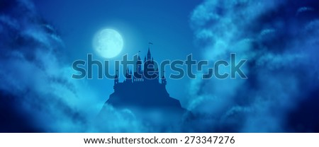 Fantasy castle silhouette on the hill against moonlight sky with soft clouds texture. Fantasy night panoramic view - stock photo