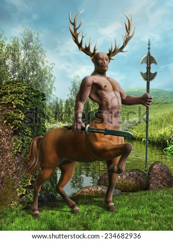 Fantasy centaur on a green meadow by a river - stock photo