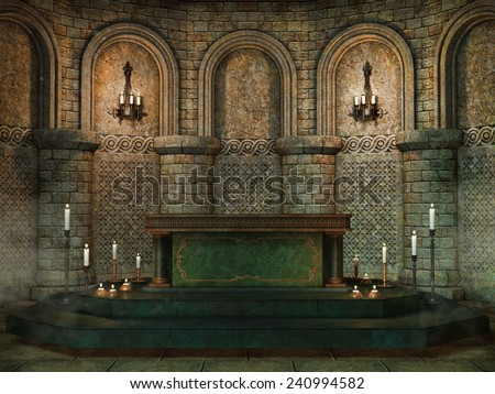 Fantasy church altar with candles - stock photo