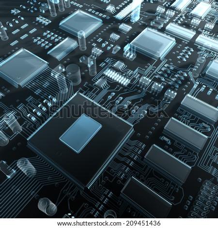 Fantasy circuit board. Top view. 3d illustration - stock photo