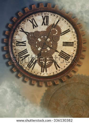 Fantasy clockwork in the sky with old style