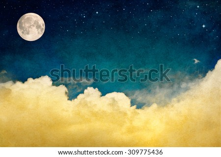 Fantasy clouds with stars and a full moon. This image features a pleasing paper texture and grain pattern visible at 100 percent.  See image ID: 68989891 for a version of this with a crescent moon.