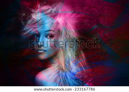 fantasy colorful beautiful young woman portrait  - stock photo
