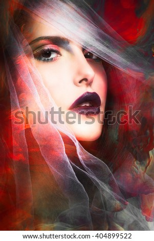 fantasy colorful woman portrait with veil composite photo - stock photo