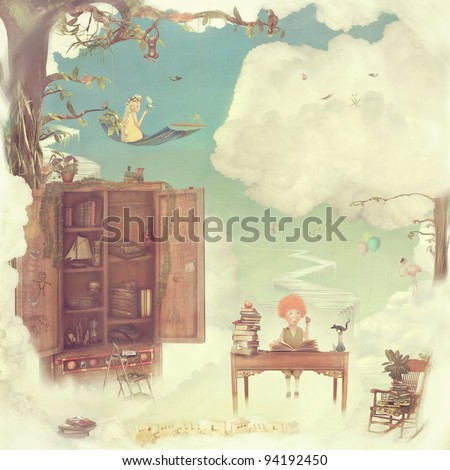 Fantasy country in the sky - stock photo