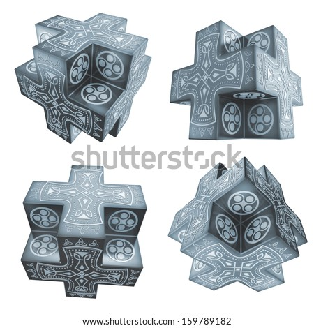 fantasy crosses artefacts with celtic symbolics 3d - stock photo