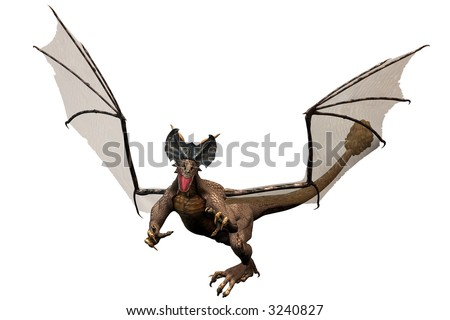 Fantasy-Drache with half-transparent wings - stock photo