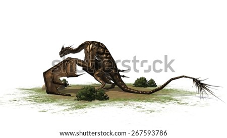 fantasy Dragon Creature - separated on white background - stock photo