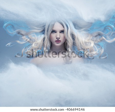 Fantasy expressive portrait of a blonde beauty - stock photo