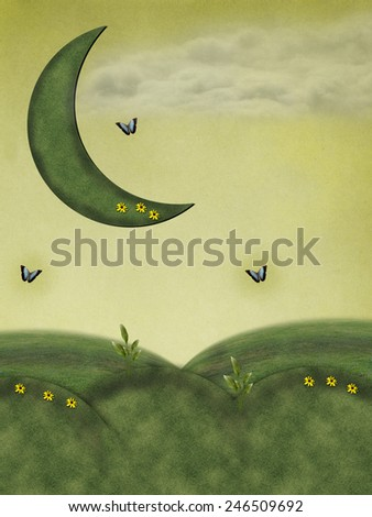 Fantasy fairy Landscape in a field with grass moon - stock photo