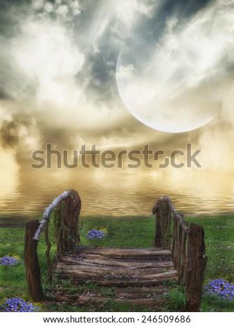 Fantasy fairy Landscape in a lake with bridge  - stock photo