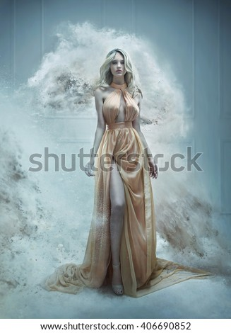 Fantasy fashion style image of a stunning blonde beauty