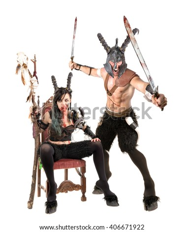 Fantasy faun couple isolated in a white background - stock photo