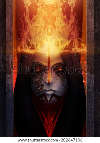 Fantasy fire goddess witch with shattered skin art portrait illustration.
