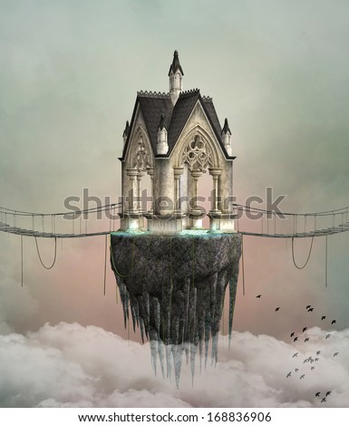 Fantasy flying house - stock photo