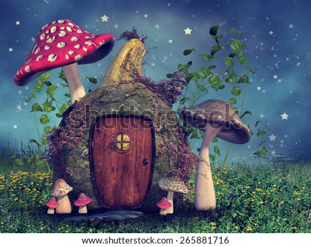 Fantasy gourd cottage with big mushrooms on a meadow with yellow flowers - stock photo
