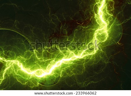 Fantasy green lightning, abstract fractal background - stock photo