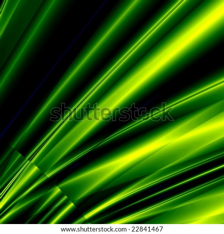 Fantasy green rays on black background - stock photo