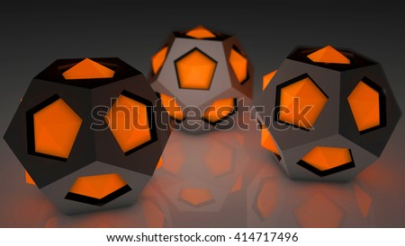 Fantasy hi tech plastic modules with luminescent orange elements on a reflexive floor. Futuristic abstract technology background. Depth of field settings. 3d rendering. - stock photo