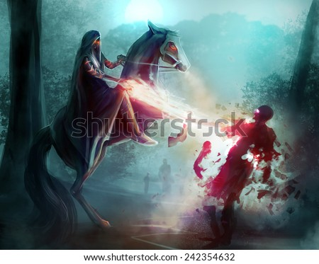 Fantasy horseman sorcery. Fantasy horseman in a hood fighting zombies in dark woods with sorcery and magic. - stock photo