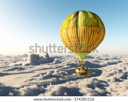 Fantasy hot air balloon above the clouds Computer generated 3D illustration - stock photo