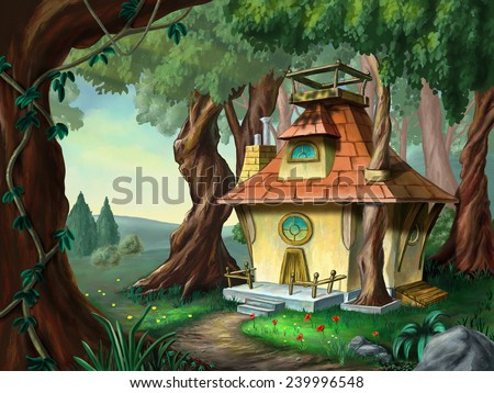 Fantasy House In A Wood Digital Illustration