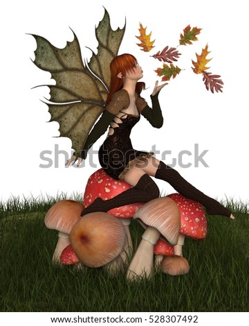 Fantasy illustration of a autumn fairy dressed in brown with red hair and leaf wings, sitting on a toadstool and playing with scattered swirling leaves, digital illustration (3d rendering)