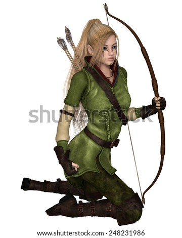 Fantasy illustration of a blonde female elf archer with bow and arrows dressed in green and brown, kneeling down, 3d digitally rendered illustration isolated on white - stock photo